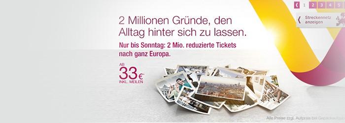 Germanwings Aktion: reduzierte Tickets ab 33€ / Strecke von Wien / Klagenfurt / Salzburg nach Deutschland