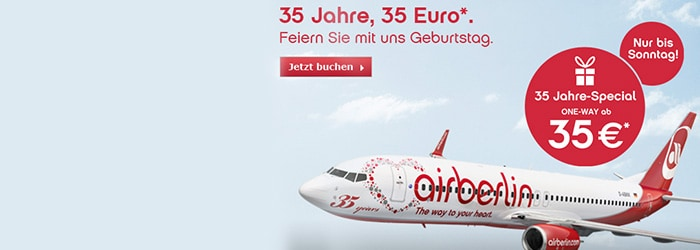 35 Jahre-Special bei Airberlin – z.B.: Berlin, Rom, Barcelona, Paris, Hamburg ab 70€!