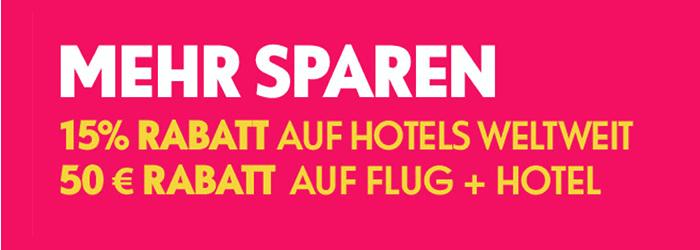 Spartage bei eBookers.de (50€ auf Flug & Hotel, 15% Rabatt auf Hotels)