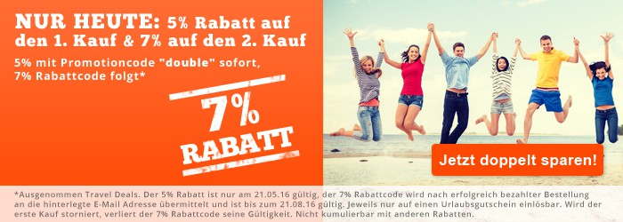 5% und 7% Rabatt auf alle we-are.travel Reisegutscheine – nur heute!