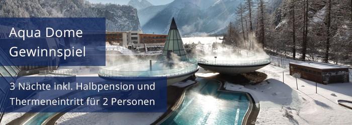 Gewinnspiel – Aqua Dome – Tirol Therme Längenfeld