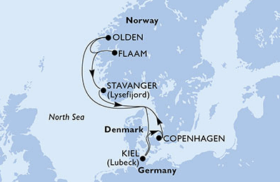 MSC Meraviglia route