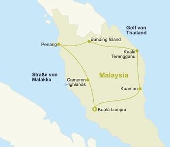 Malaysia Urlaub Route