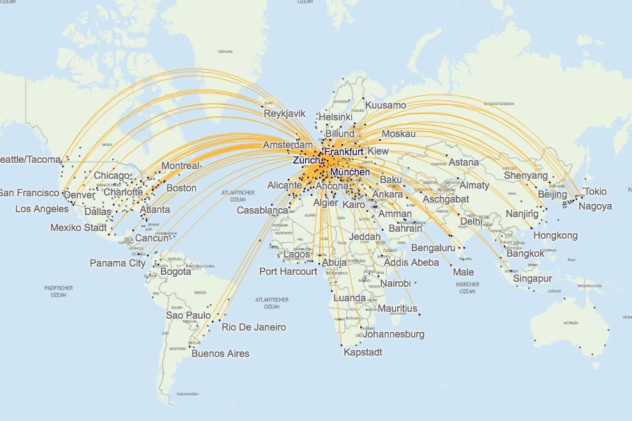 Lufthansa Streckennetz