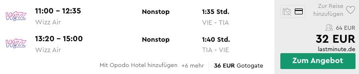 Flug Tirana Angebot
